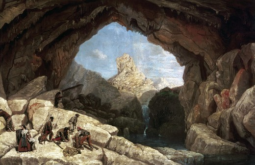 BARRON Y CARRILLO, Manuel (1814-1884). The Cueva del Gato (Cave of the Cat). 1860. A group of bandits (with wife and child) is caught by the Guardia Civil (Spanish gendarmerie). Costumbrism. Oil on canvas. SPAIN. ANDALUSIA. Sevilla. Fine Arts Museum. : Stock Photo