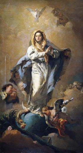 Stock Photo: 4435-2661 TIEPOLO, Giovanni Battista (1696-1770). The Immaculate Conception. 1767 - 1769. The Immaculate with Marian symbols, angels and the Holy Spirit. Baroque art. Oil on canvas. SPAIN. MADRID (AUTONOMOUS COMMUNITY). Madrid. Prado Museum.