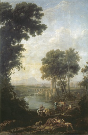 Stock Photo: 4435-2682 Claude Lorrain (1600-1682). Landscape with the Finding of Moses. ca. 1637 - ca. 1639. Baroque art. Oil on canvas. SPAIN. MADRID (AUTONOMOUS COMMUNITY). Madrid. Prado Museum.