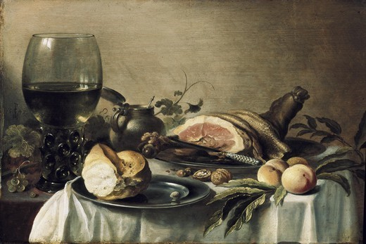Stock Photo: 4435-2752 CLAESZ, Pieter (1597-1661). Breakfast with Ham. 1647. Dutch school. Baroque art. Oil on wood. RUSSIA. SAINT PETERSBURG. Saint Petersburg. State Hermitage Museum.