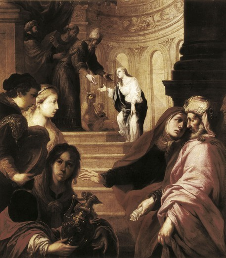 Stock Photo: 4435-2804 VALDƒS LEAL, Juan de (1622-1690). The Presentation of the Virgin in the Temple. 1660s - 1670s. The Virgin, girl, is welcomed by the Priest at the stairs; at the foot of the stairs, St. Anne and St. Joaquim. Baroque art. Oil on canvas. SPAIN. MADRID (AUTONOMOUS COMMUNITY). Madrid. Prado Museum.