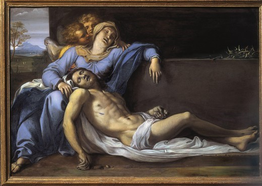 CARRACHE, Annibale. Lamentation of Christ (Pietˆ). 1603. Painting on copper. Baroque art. Oil on wood. AUSTRIA. VIENNA. Vienna. Kunsthistorisches Museum Vienna (Museum of Art History). : Stock Photo