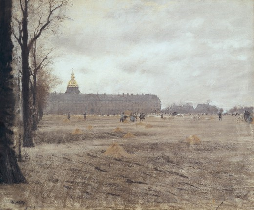 Stock Photo: 4435-3301 DE NITTIS, Giuseppe (1846-1884). Place des Invalides. mid. 19th c. Impressionism. Oil on canvas. ITALY. LOMBARDY. Milan. Galleria d'Arte Moderna (Gallery of Modern Art).