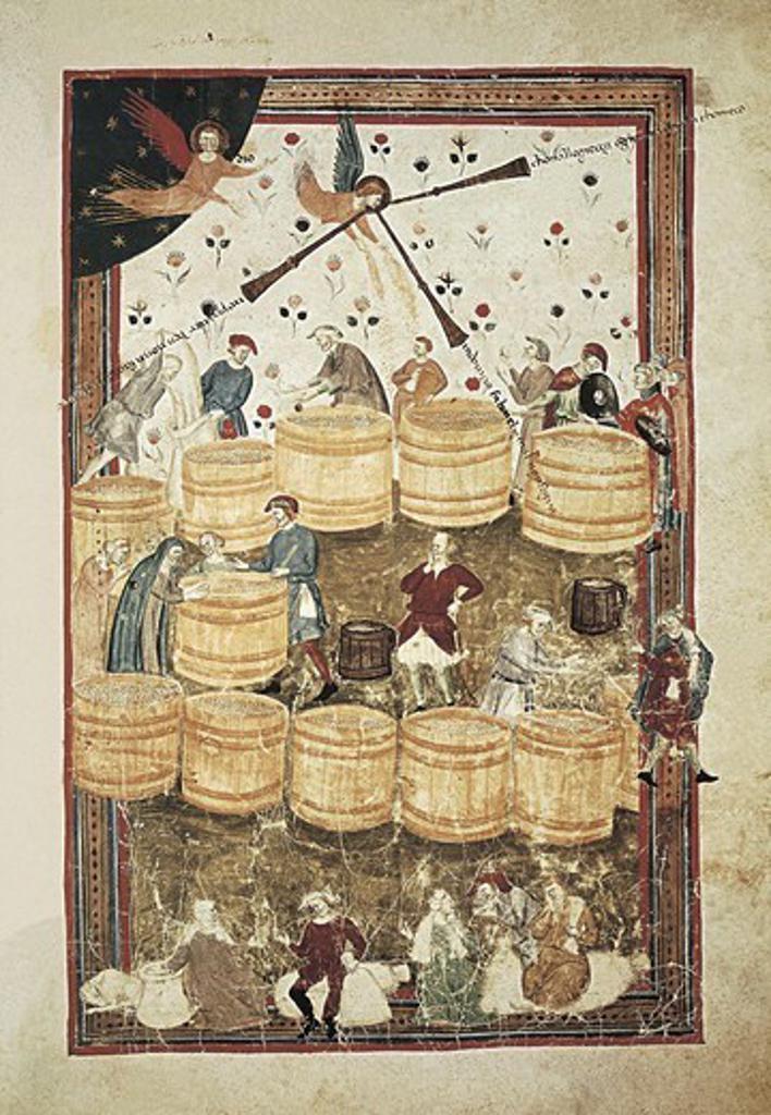 Stock Photo: 4435-3568 Grain dealer. Miniature painting by Domencio Lenzi (14th c.). Renaissance art. Trecento. Miniature Painting. ITALY. TUSCANY. Florence. Biblioteca Medicea Laurenziana (Laurentian Library).