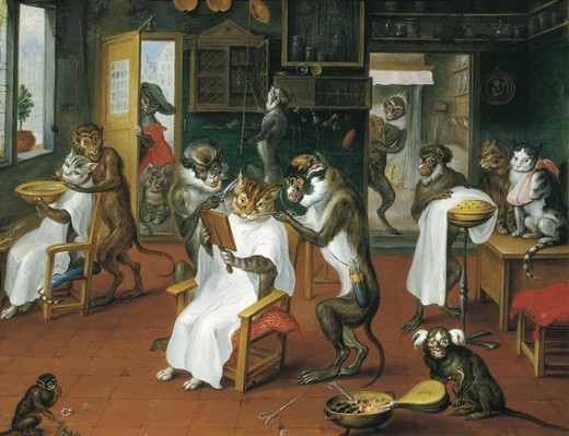 Stock Photo: 4435-4280 TENIERS, Abraham (1629-1670). Barber's shop with Monkeys and Cats. 1747-1748. Oil on copper. Flemish art. Oil on wood. AUSTRIA. VIENNA. Vienna. Kunsthistorisches Museum Vienna (Museum of Art History).
