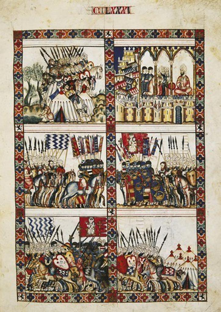 Alfonso X, called 'The Wise' (1221-1284). Cantigas de Santa Maria (Virgin Mary Songs). 13th c. Fol. 181. Gothic art. Miniature Painting. SPAIN. MADRID (AUTONOMOUS COMMUNITY). San Lorenzo de El Escorial. Royal Library of the Monastery of El Escorial. : Stock Photo
