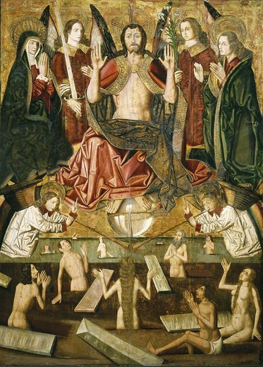 Last Judgement. 1485 - 1487. Part of the altarpiece comes from the church of Blesa. Gothic art. Tempera on wood. SPAIN. ARAGON. Zaragoza. Zaragoza Province Museum. : Stock Photo