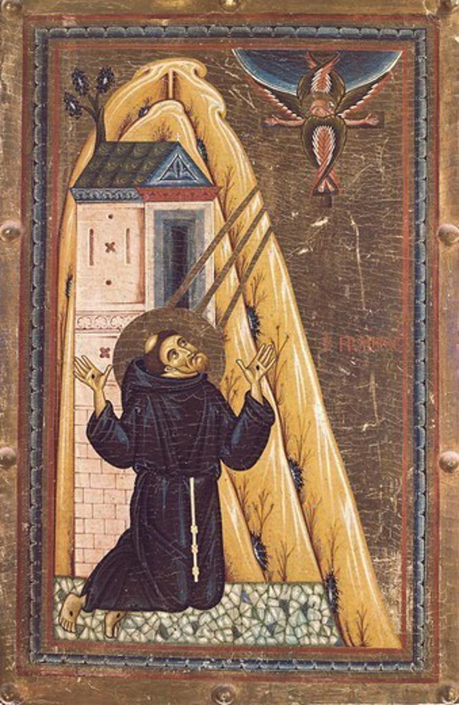 Stock Photo: 4435-4499 BERLINGHIERI, Bonaventura (before 1228-1274). The Stigmata of St. Francis. ca. 1228. Renaissance art. Quattrocento. Tempera on wood. ITALY. TUSCANY. Florence. Galleria degli Uffizi (Uffizi Gallery).