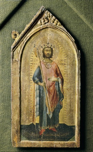 Stock Photo: 4435-4544 MARTINI, Simone di Martino, called Simone (1284-1344). Saint Ladislas. ca. 1326. Renaissance art. Trecento. Sienese school. Tempera on wood. ITALY. CALABRIA. COSENZA. Altomonte. Museo Civico de Santa Maria della Consolazione.