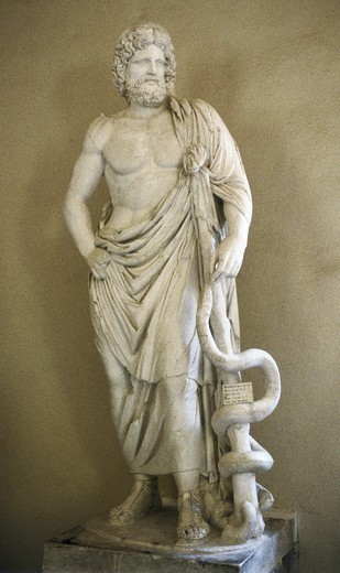 Stock Photo: 4435-4858 Asclepius. 4th c. BC. Classical Greek art. Sculpture on marble. GREECE. PELOPONNESE. ARCADIA. Epidaurus. Archaeological Museum of Epidaurus.