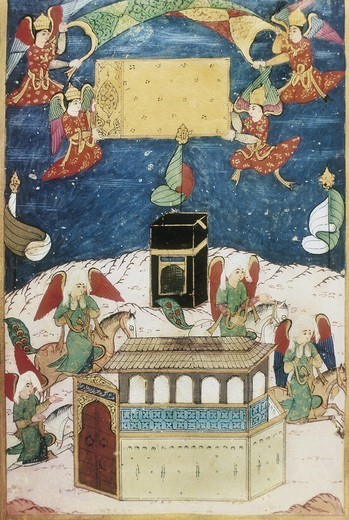 Stock Photo: 4435-5304 SUFTI ABDULLAH (16th century). Angels decorating the Kaaba. 1594. Ottoman art. Miniature Painting. TURKEY. THRACE. Istanbul. Library of Ahmed III (Topkapi Palace).