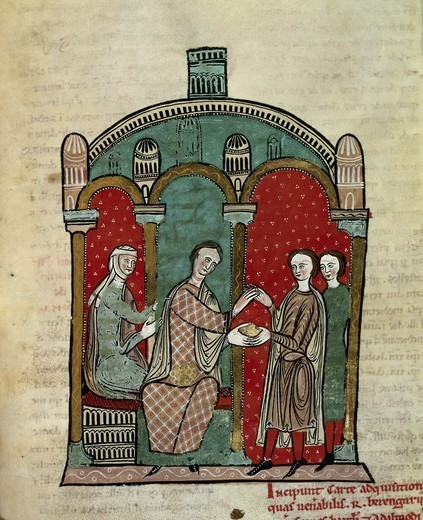 Stock Photo: 4435-5634 Liber Feudorum Maior. end 12th c. Royal cartulary carried out after Alfonso the Chaste's order. Folio b3 bis back, with the depiction of Queen Almodis, RamÑn Berenguer and RamÑn Calders. Romanesque art. Miniature Painting. SPAIN. CATALONIA. Barcelona. Royal Archive of the Crown of Aragon.