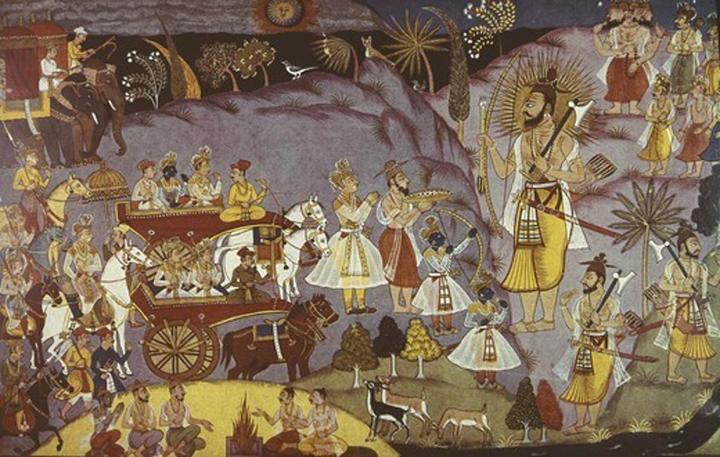 Stock Photo: 4435-5786 Meeting between Rama and Parasurama. Illustration from Bala Kanda, first book of Indian epic poem ' Valmiki Ramayana', 17th century. Hindu art. Miniature Painting.