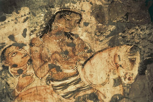 Stock Photo: 4435-5817 INDIA. Ajanta. Ajanta Caves. Detail with a feminine figure on horseback . Wall painting inside the cave n. 1 (5th-6th c.). Hindu art. Gupta period.