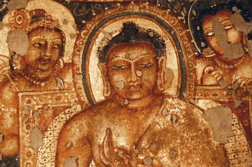 India ajanta ajanta caves detail of face of buddha in for Ajanta mural painting