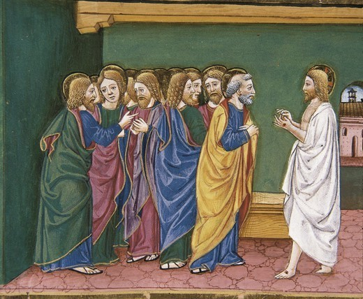 DE PREDIS, Cristoforo (1440-1486). Stories of Saint Joachim, Saint Anne, Virgin Mary, Jesus, the Baptist and the End of the World. 1476. Jesus resurrected appears to the disciples, gathered together in a house. Renaissance art. Quattrocento. Miniature Painting. ITALY. PIEDMONT. Turin. Royal Library. : Stock Photo