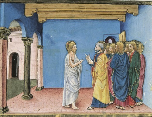 DE PREDIS, Cristoforo (1440-1486). Stories of Saint Joachim, Saint Anne, Virgin Mary, Jesus, the Baptist and the End of the World. 1476. Jesus resurrected tells to Peter: tale care of my sheeps. Renaissance art. Quattrocento. Miniature Painting. ITALY. PIEDMONT. Turin. Royal Library. : Stock Photo