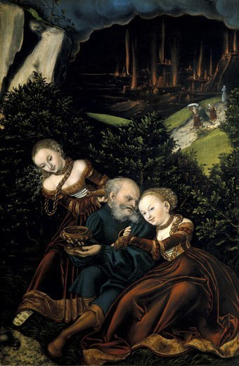 Stock Photo: 4435-7162 Cranach, Lucas, 'the Elder' (1472-1553). Loth and his daughters (Lot und seine Tšchter). 1528. Renaissance art. Oil on wood. AUSTRIA. VIENNA. Vienna. Kunsthistorisches Museum Vienna (Museum of Art History).