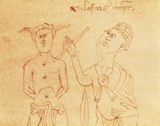 Stock Photo: 4435-7690 Surgery. Doctor visting a patient. Illustration from 13th c. Gothic art. Miniature Painting. ITALY. VENETO. Venice. Biblioteca nazionale marciana (St. Mark's Library).
