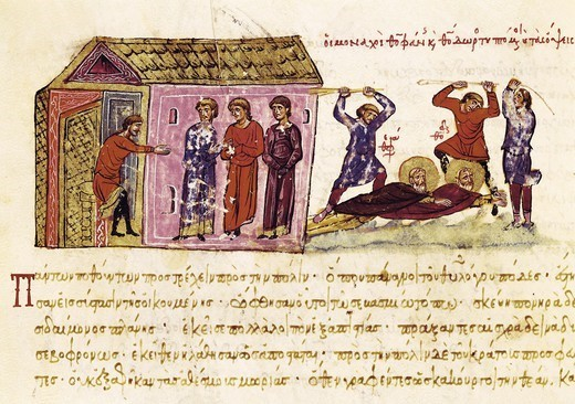 Stock Photo: 4435-8490 SKYLITZER, John (9th century). Madrid Skylitzes 'Synopsis historiarum'. Synopsis of Histories about the reigns of the Byzantine emperors. 12th c. The monks Theophanes and Theodorus flogged by order of the Emperor Theophilos during the second Iconoclastic controversy. Manuscript produced in Sicily. Byzantine art. Miniature Painting. SPAIN. MADRID (AUTONOMOUS COMMUNITY). Madrid. National Library.