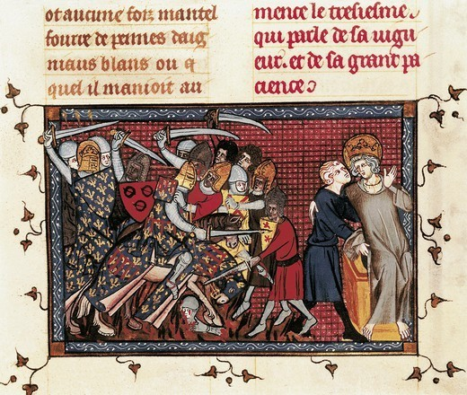 Stock Photo: 4435-8626 Seventh Crusade (1248-1254). Battle of Mansura (1250). Louis IX and Ysembart le Queu. Fol. 199 of the 'Life and Miracles of Saint Louis' by Guillaume de Saint-Pathus (c. 1330), illustrated by Mahiet. Gothic art. Miniature Painting. FRANCE. 'LE-DE-FRANCE. Paris. National Library.