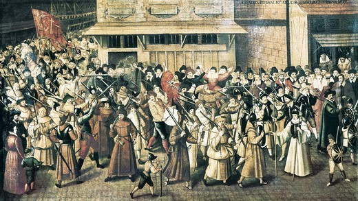 Stock Photo: 4435-8696 France. Wars of Religion. Procession of the Holy League in Paris (February 4, 1593), catholic militia created to fight Huguenots. Painting. FRANCE. 'LE-DE-FRANCE. YVELINES. Versailles. Palace of Versailles.
