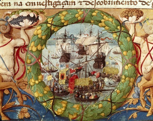 Festival of Portuguese Fleet. illustration from 'Livros do Al_m Douro da Leitura Nova'. 16th c. Renaissance art. Miniature Painting. PORTUGAL. Lisbon. National Archive of the Tower of the Tombo. : Stock Photo