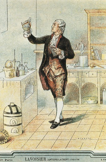 Stock Photo: 4435-9753 Lavoisier, Antoine-Laurent (1743-1794). French chemist. Established the composition of the water and the basis of bioenergetics. Portrait at his laboratory with a bottle of mercury. Engraving. FRANCE. 'LE-DE-FRANCE. Paris. Mus_e Carnavalet (Carnavalet Museum).