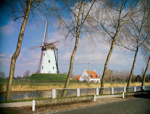 Stock Photo: 444-157 Windmill, Dike