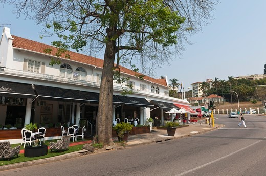 Stock Photo: 4441-10460 Restaurant and street scene in Barea. Durban. KwaZulu Natal. South Africa