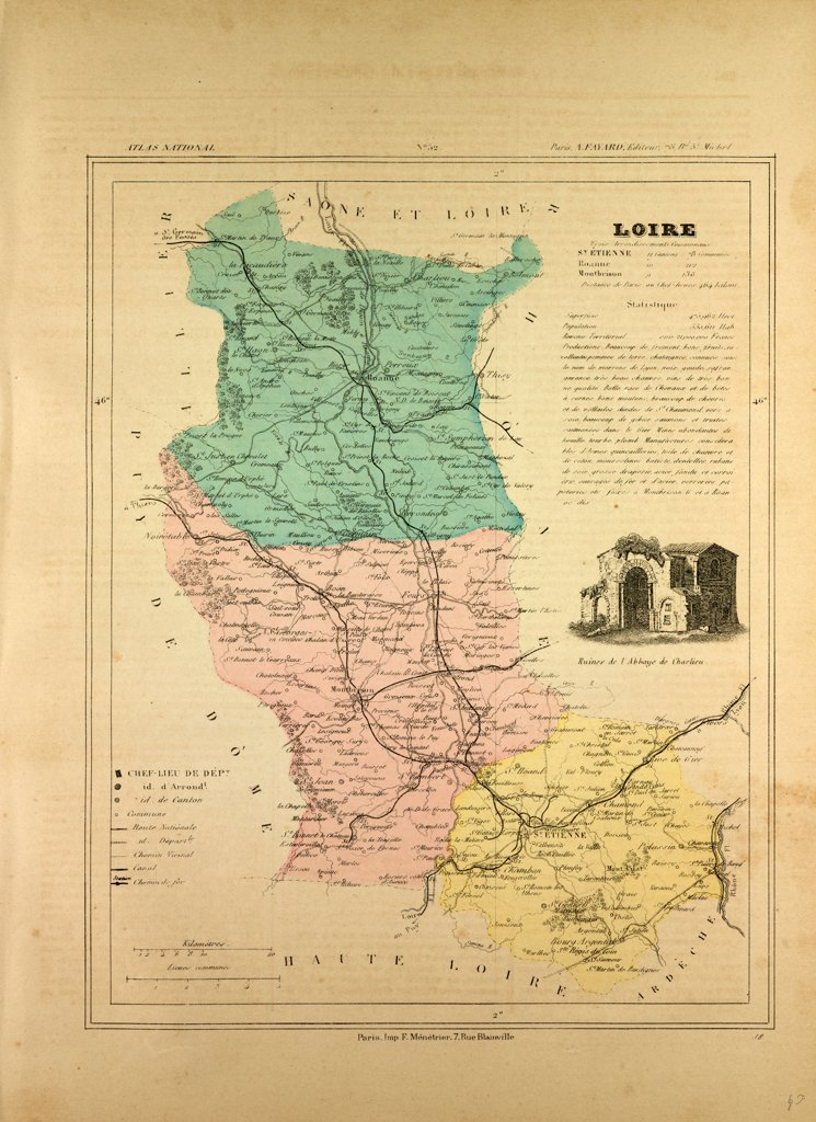 Stock Photo: 4443-11071 MAP OF LOIRE, FRANCE