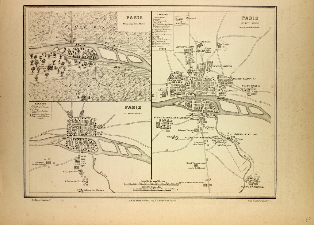 MAP OF PARIS IN 60 B.C., IN THE 4TH CENTURY AND IN THE 12TH CENTURY, FRANCE : Stock Photo