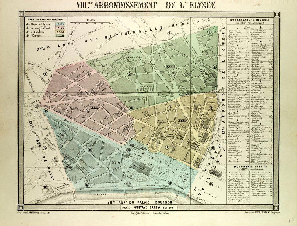 Stock Photo: 4443-11225 MAP OF THE 8TH ARRONDISSEMENT DE L'ELYSEE, PARIS, FRANCE