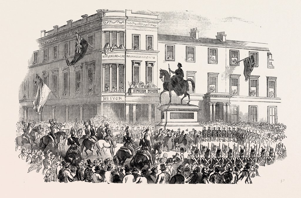 Stock Photo: 4443-12252 INAUGURATION OF MAROCHETTI'S STATUE OF HER MAJESTY, AT GLASGOW, UK, 1854