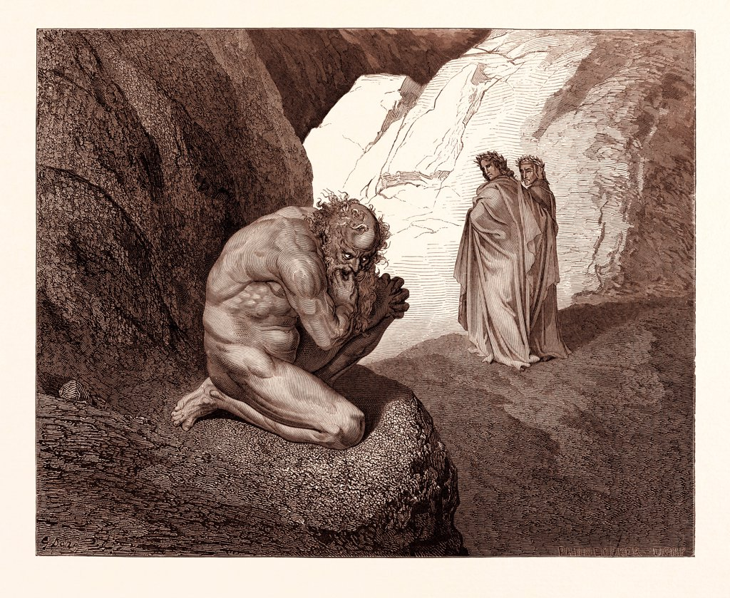 Stock Photo: 4443-17337 DANTE AND VIRGIL MEET PLUTUS, BY GUSTAVE DOR€. Dore, 1832 - 1883, French. Engraving for the Divine Comedy or Divina Commedia by Dante Alighieri. 1870, Art, Artist, romanticism, colour, color engraving.