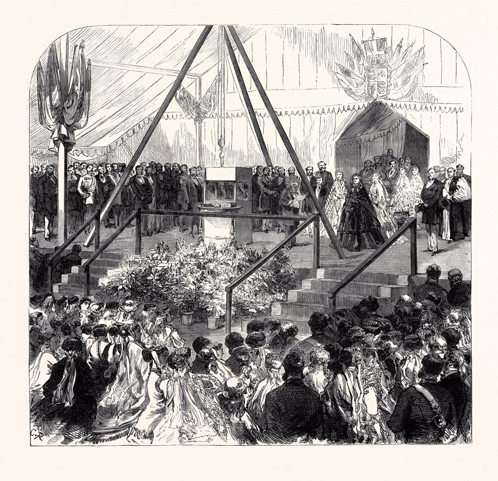 Stock Photo: 4443-4547 THE QUEEN LAYING THE FOUNDATION STONE OF THE NEW BALL OF THE ROYAL ALBERT ORPHAN ASYLUM, AT BAGSHOT, 1867