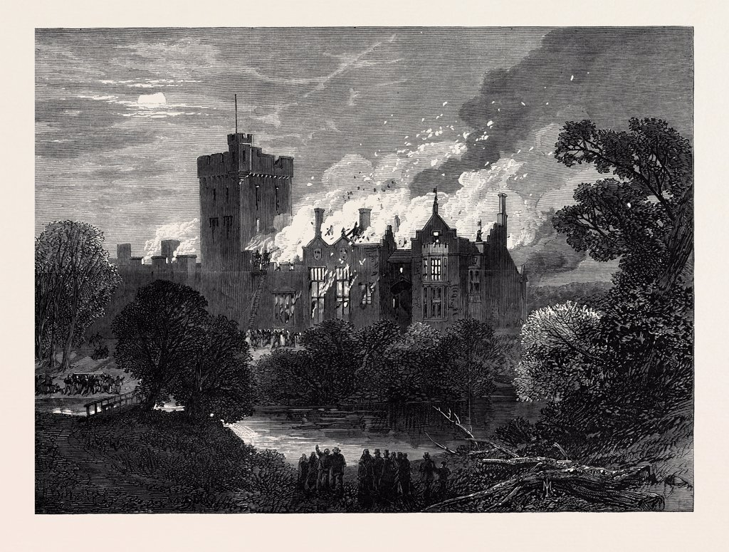 Stock Photo: 4443-6535 FIRE AT GREYSTOKE CASTLE, CUMBERLAND, 1868