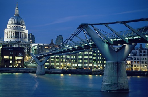 Stock Photo: 4449-11305 River Thames, Millenium Bridge and St. Paul´s Cathedral at night, London, England