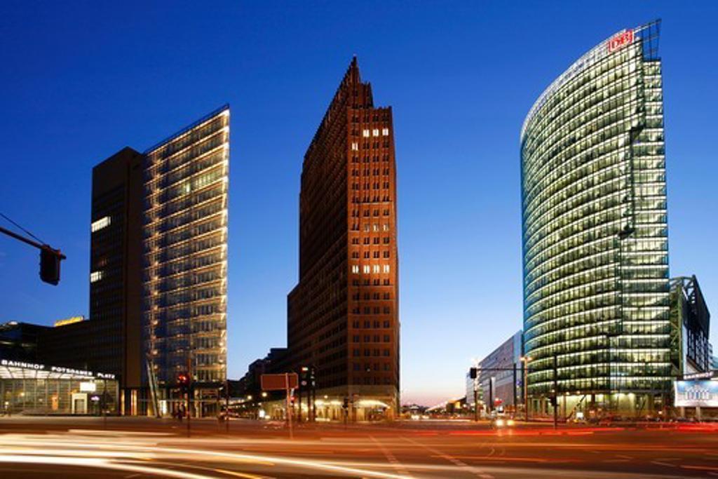 Berlin, Potsdamer Platz, Sony Center DB tower : Stock Photo