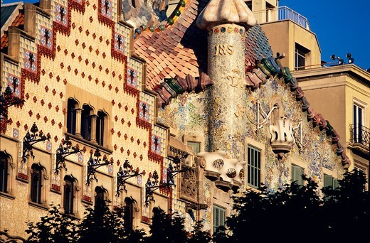 Stock Photo: 4449-2907 Facade of Casa Battlo and of Casa Amatller from Antonio Gaudi, Barcelona, Catalonia, Spain