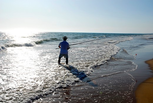 Stock Photo: 4449-47907 Angler, beach at the Atlantic Ocean, Playa de Punta Umbria, Costa de la Luz, Huelva, Andalusia, Andalucia, Spain, Europe