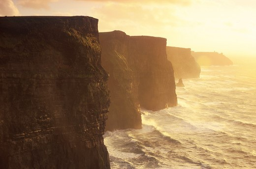 Stock Photo: 4449-5351 Cliffs of Moher at sunrise, County Clare, Ireland, Europe