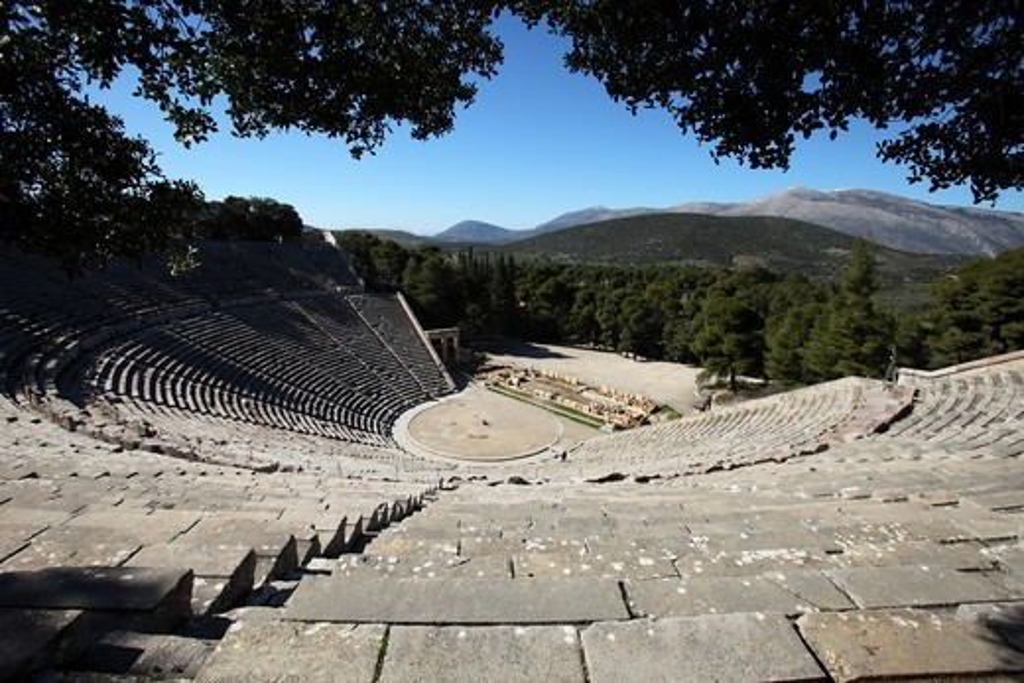Stock Photo: 4449-56766 Amphitheatre of Epidaurus, Peloponnes, Greece