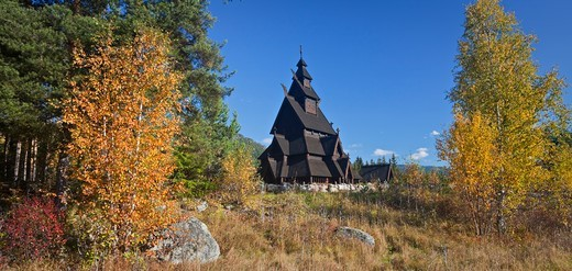 Replica of the Gol stave church, Norwegian Museum of Cultural History, Bygdoy, Norway : Stock Photo