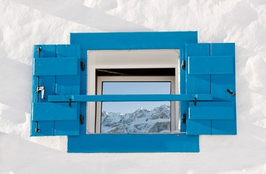 Stock Photo: 4449-58927 Reflection of snowy mountains on a window pane, Alto Adige, South Tyrol, Italy, Europe