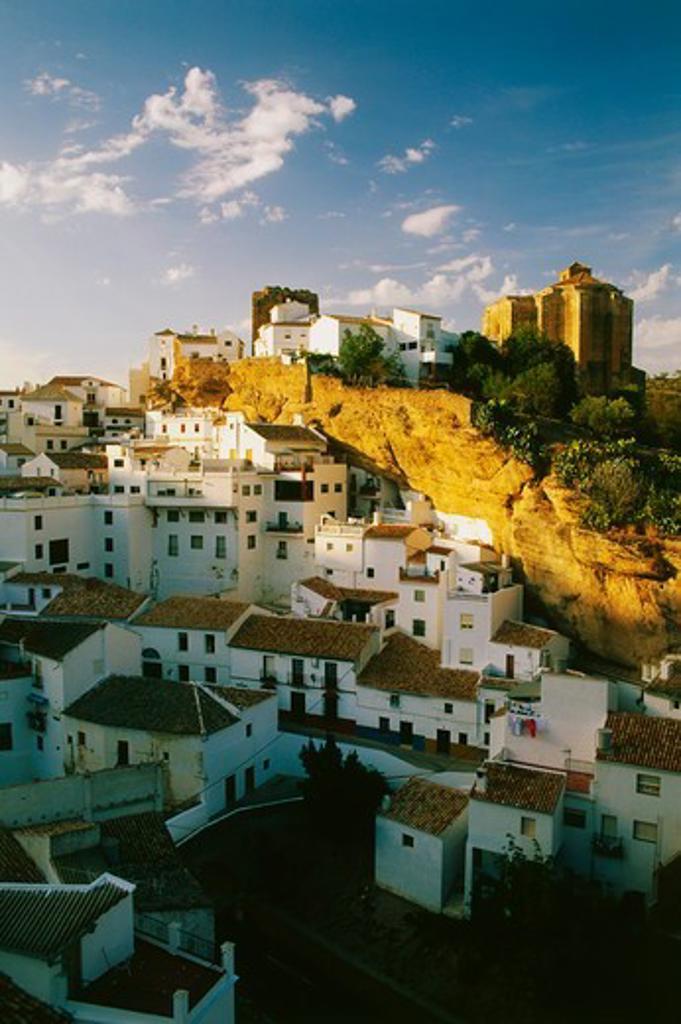 Setenil, rocks, white village, Province Cadiz, Andalusia, Spain : Stock Photo