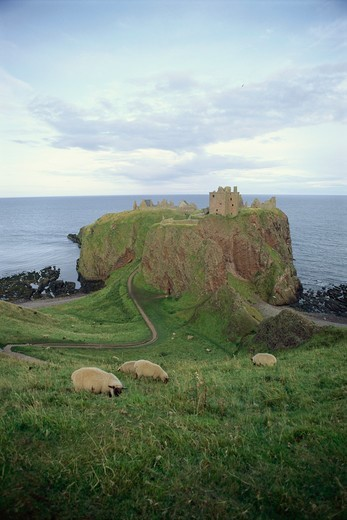Dunnottar Castle near Stonehaven, Grampian District, Aberdeenshire, Scotland : Stock Photo