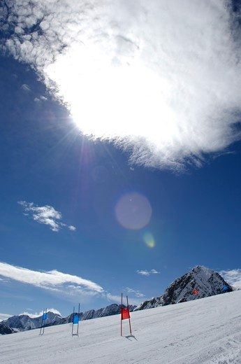 Sunbeam over the ski slope, South Tyrol, Trentino-Alto Adige, Italy : Stock Photo