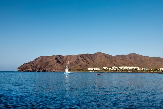 Stock Photo: 4449-89903 Sailind boat, fishing village Las Playitas, Fuerteventura, Canary Islands, Spain