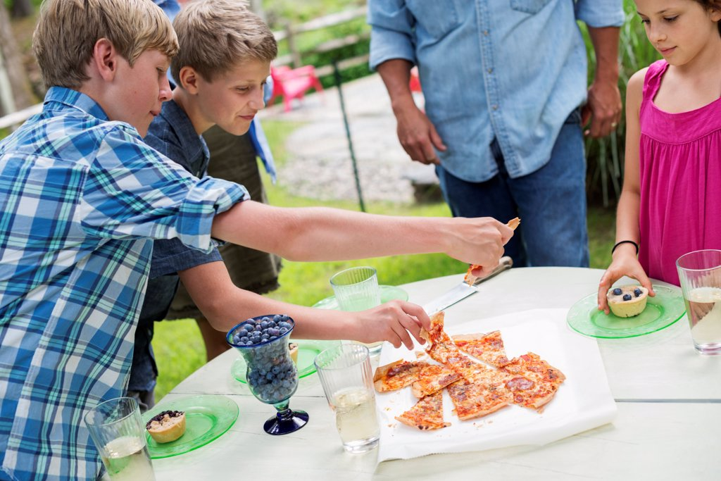Organic Farm. An outdoor family party and picnic. Adults and children. Plate of pizza. : Stock Photo